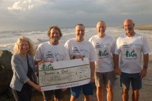 Sea Monkeys hand over the cheque